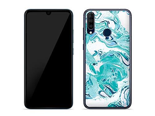 etuo Hülle für Wiko View 3 - Hülle Fantastic Hülle - Blaue Marmor Handyhülle Schutzhülle Etui Hülle Cover Tasche für Handy