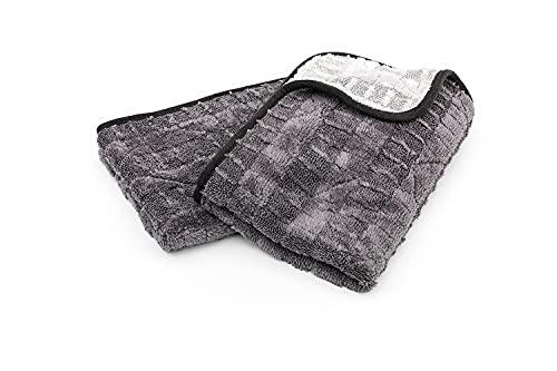 The Rag Company - The Gauntlet - Microfiber Korean 70/30 Blend, Drying Wheel Towel, 900gsm, 15in x 24in, Ice Grey + Grey (2-Pack)