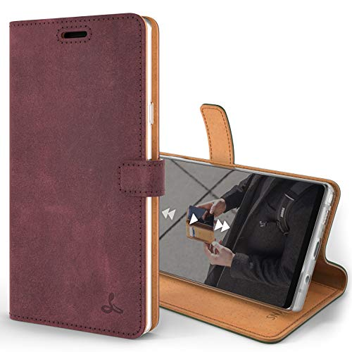 Snakehive Note 9 Handy Schutzhülle/Klapphülle echt Lederhülle mit Standfunktion, Handmade in Europa für Note 9 - (Lila)