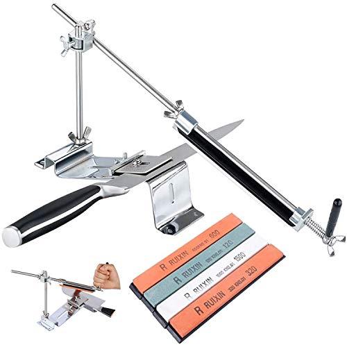 Poweka Afilador de Cuchillos Profesional con 4 Piedra de Afilar, Amoladora Angular en Acero Inoxidable Kit de Afilado de Cocinas de Pro III Angulo Fijo Sistema