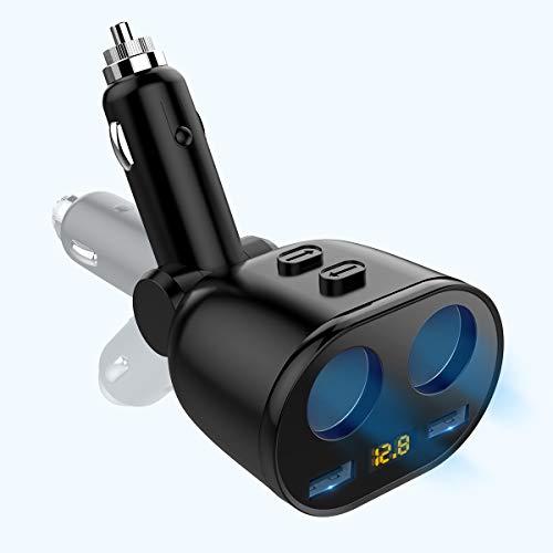 [Aktualisierte 2020 Version] 90W Zigarettenanzünder Verteiler Auto Ladegerät, 36W 2-Port QC 3.0 Adapter Kfz-Handyladegerät für Pad Pro, Phone, Galaxy, Pixel, Tablets und mehr,10A Sicherung Dualer