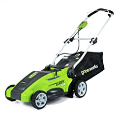 Greenworks, 10 Amp 16-Inch 2 in 1, Rear Bag or Mulch Electric Lawn Mower, Converts Easily from Rear Bag to Mulch, Model # 25142 10 Amp Electric Motor delivers enough power to cut through touch grass. Assembled Product Weight: 48.0 Pounds Durable 16-I...