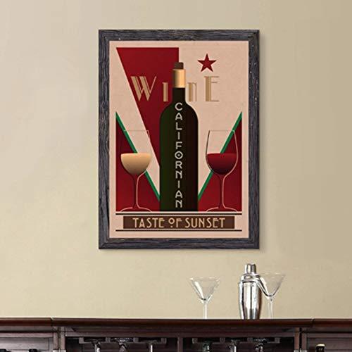 N/A Lienzo Pintura Decoración Cartel Vintage De Vino Californiano Bar Pared Arte Imagen Decoración, Carteles De Vino Restaurante Cocina Decoración del Hogar Lienzo Pintura