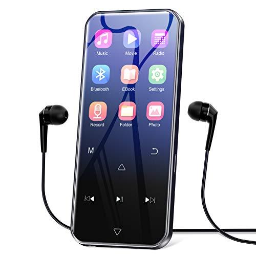 """32GB Lettore MP3 con Bluetooth 5.0, 2.4"""" Lossless HiFi Sound lettore musicale, FM Radio, Registratore Vocale, Lettori MP3 portatile in metallo ultrasottile, Supporto espandibile fino a 128GB"""