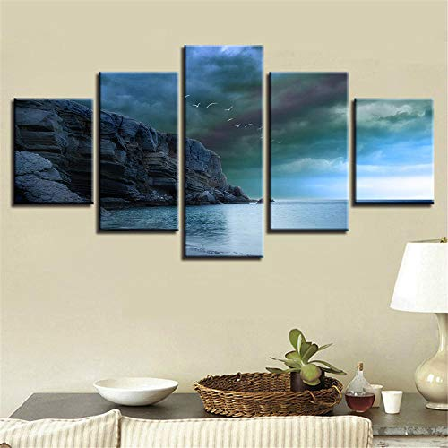rkmaster-Modular canvas schilderij muurschilderingen 5 vogels clip Haiyin hemel landschap afbeelding kunstwerk frame decoratie woonkamer