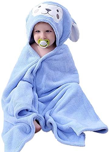 HUOCAI Asciugamano da Bagno Con Cappuccio Bambini, Accappatoio Neonato, 5-10 Anni - 85x150 cm Carina Design coniglio, Morbido Assorbente Asciugamano da Bagno Per Bambini Ragazzi e Ragazze (blu)