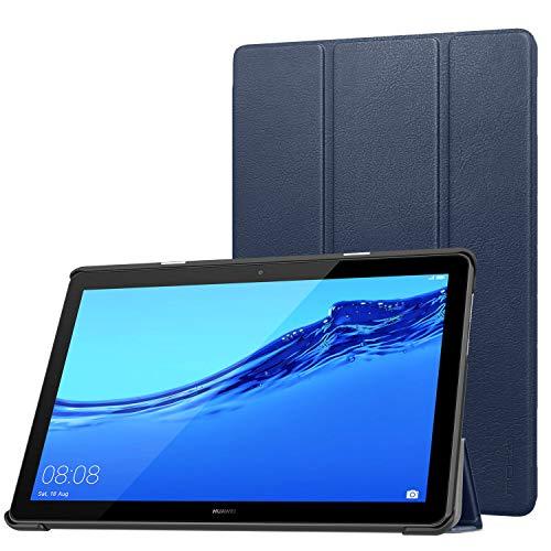 MoKo Hülle für Huawei MediaPad T5 10, Ultra Slim Superleicht Kunstleder Schutzhülle, Lightweight Tasche Smart Cover für Huawei MediaPad T5 10.1 2018 - Marineblau