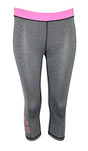 Under Armour Youth Girls Athletic Capri Running Anti Odor Pants (XL 18) Grey/Pink