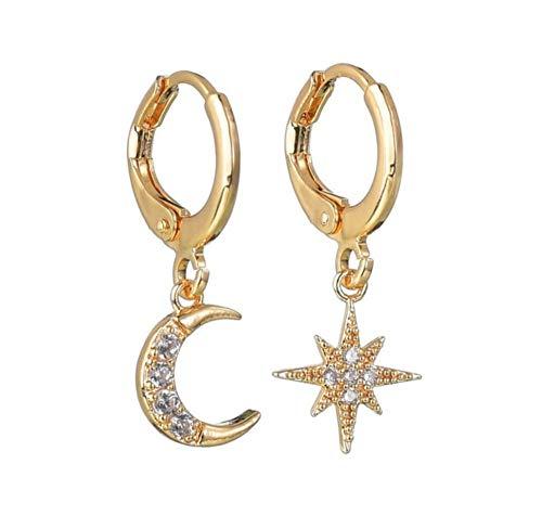 Classic Metal Hoop Star Moon Strass Intarsiato Orecchini pendenti asimmetrici Orecchini pendenti eleganti coreani per le donne Gioielli orecchio oro 2 pezzi