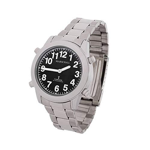 Sprechende Funk-Armbanduhr Damen & Herren Gliederarmband Black Stile Herrenuhr