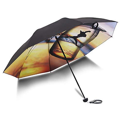Big seller Regenschirme UV-Schutz Sonnenschirm schwarz Kunststoff Sonnencreme weibliche Sonnenschirm Regenschirm Taschenschirm (Farbe : Messing)