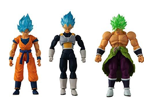Bandai 85819 Dragon Ball - 12 cm Evolve Figur Triple Pack Broly, Vegeta und Super Saiyan Goku