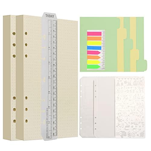 Wonderpool Recargas de papel 320 páginas 100 gsm Papel de 6 orificios para cuaderno de 6 anillas con divisor bolsillos marcapáginas plantillas(Papel punteado, A5)
