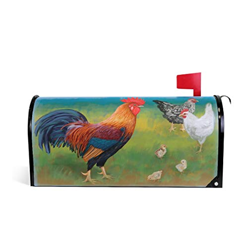 WOOR Hahn mit Hühnern magnetischer Briefkasten-Abdeckung Übergröße 65,5 x 20,8 20.8x18 inch Standard Size Multi