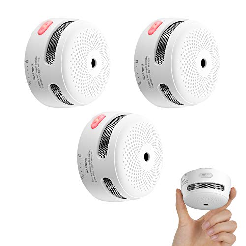X-Sense Mini Smoke Alarm, 10-Year Battery Fire Alarm Smoke Detector with LED Indicator & Silence Button, XS01, 3-Pack
