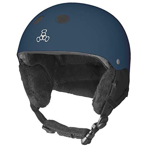 Triple Eight Standard Snow Ski and Snowboard Helmet, Navy Rubber, Small/Medium