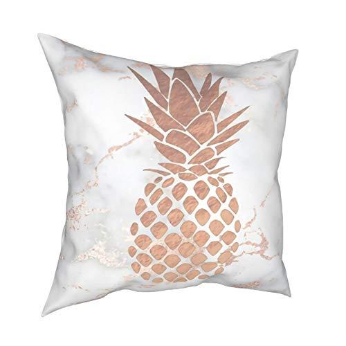 DearLord Fundas de cojín de imitación de oro rosa de piña sobre mármol rosa, fundas de almohada cuadradas de doble cara para sofá dormitorio con cremallera invisible de 45 x 45 cm