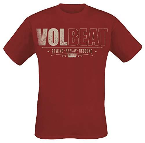 Volbeat Distressed Logo Hombre Camiseta Rojo Oscuro, Regular
