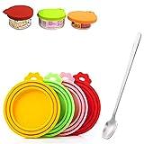 Sprießen 4 Coperchio per Lattina di Cibo per Gatti, Silicone Pet Can Covers lids con 1 Cucchiaio, 3-in-1 Dimensione, Senza BPA, Lavabili in lavastoviglie
