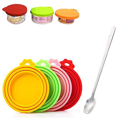 Sprießen 4 Fundas de Silicona para latas de Mascotas y 1 cucharas para Mascotas, sin BPA, Reutilizables Tapas de Silicona para Todas Las Tapas estándar de Comida para Perros y Gatos
