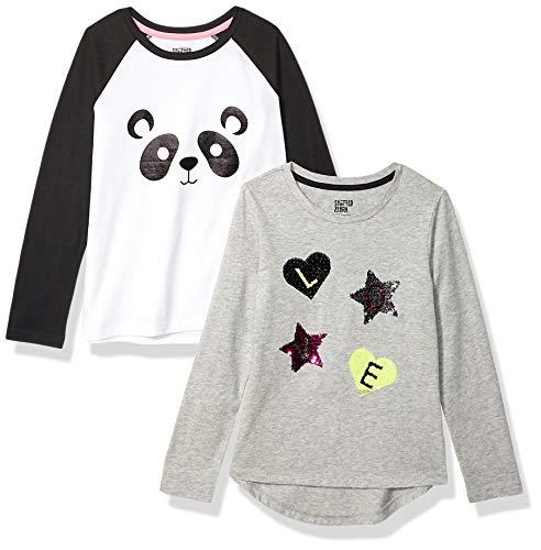 Spotted Zebra Girls' Kids Long-Sleeve T-Shirts, 2-Pack Panda, Large