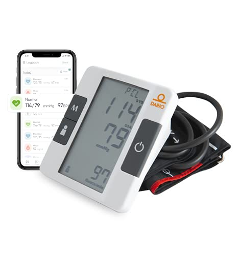 Dario Blood Pressure Monitor Upper Arm Includes: Blood Pressure Cuff, Carrying Bag, Batteries. Bluetooth to Dario Mobile App for Simple Data Tracking and Sharing (Medium 9.4-13.8 in (24-35cm))