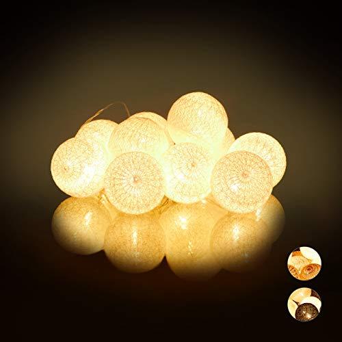 Relaxdays LED Lichterkette mit 10 Baumwollkugeln, batteriebetrieben, Schalter, Stimmungslichter, Kugeln 6 cm Ø, weiß
