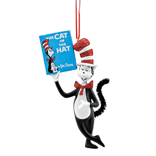 Department 56 Dr. Seuss Cat in the Hat Holding Book Hanging Ornament, 4.33 inch