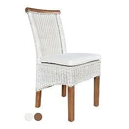 casamia Chaise en rotin Blanc Perth avec Coussin d'assise, Taille Unique