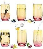 PLATINUX Juego de 6 vasos de cristal amarillo y rosa de 300 ml (máx. 370 ml)