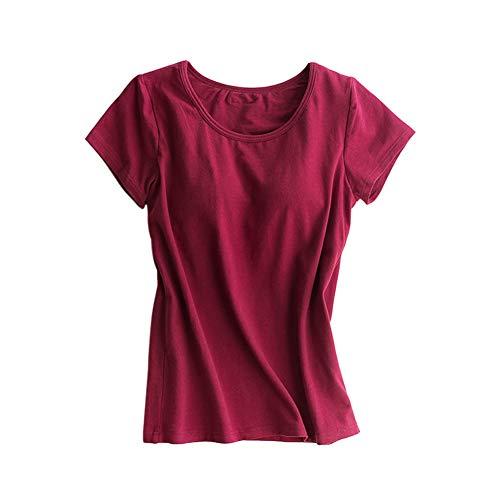 Meijunter Womens T-Shirt with Built in Bra - Short Sleeve Padded Bra Sports...
