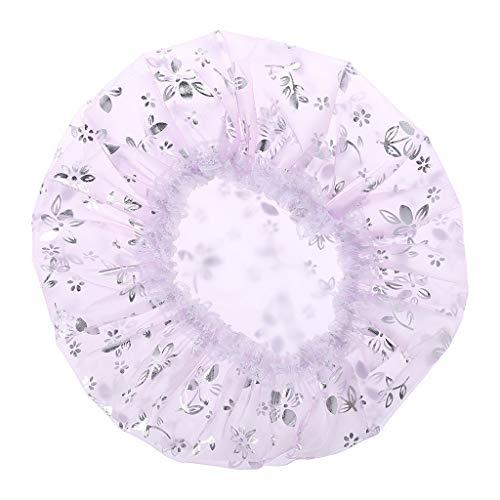 A0127 Bonnet de douche Bonnet de bain élastique femme Bonnet de bain Bonnet de douche étanche Double épaississement Fleur de feuille d'argent Robinet de sable (violet clair)