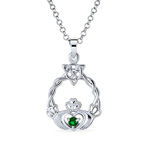 Kelly Green Cubic Zirconia CZ Claddagh Celtic Friendship Heart Pendant Necklace For Women For Teen 925 Sterling Silver