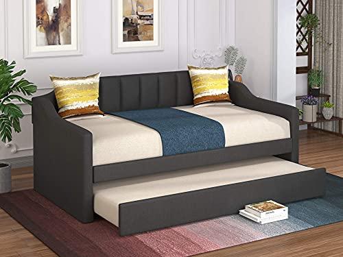 Diván tapizado con nido, estructura de cama individual de primera calidad con fuerte soporte de listones de madera maciza, diseño de respaldo curvo, sofá cama con nido, no se necesita somier (gris)