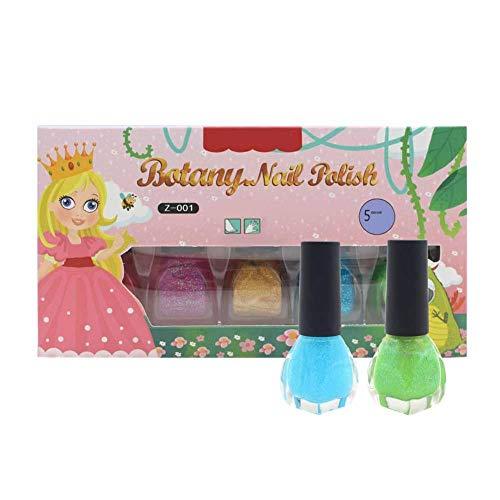 arthomer 5 Colores Maquillaje de Juguetes para niñas Juego de Esmalte de uñas Princesas para niñas, Juego de Esmalte de uñas Lavable no tóxico para niñas