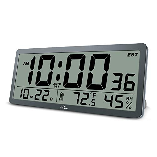 WallarGe Large Digital Wall Clock,14 Inches Oversized Desk Clocks with Temperature,Humidity and Date,Auto Daylight Saving Time,Battery Operated Clocks for Office,Classroom and Living Room,etc.