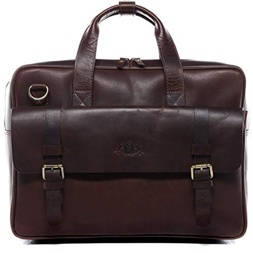 SID & VAIN Aktentasche echt Leder Elijah groß Businesstasche Bürotasche Laptoptasche Laptopfach 15.6