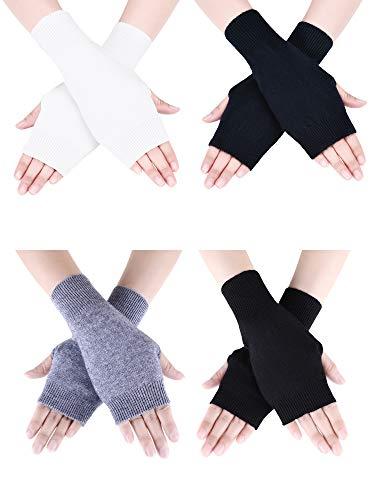 Tatuo 4 Paar Cashmere Feel Fingerlose Handschuhe mit Daumenloch warme Handschuhe für Damen und Männer (Farbe Set 3)