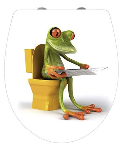 Wenko WC-Sitz Hochglanz Acryl Frog News, High Gloss Oberfläche, Toilettendeckel mit Absenkautomatik, aus Duroplast, 39 x 45 cm