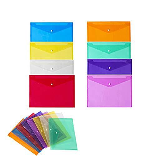 Sprießen Cartelle portadocumenti in plastica, confezione da 24, formato A4, chiusura con bottone a scatto, per insegnanti, studenti, scuola, ufficio,per Documenti, Certificati, Ricevute e Buoni