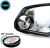 Uni-Fine 2 PCS Rotation à 360°Rétroviseurs Extérieur d'Angle Mort, HD Grand Angle avec Auto-adhésif 3M Rétroviseurs Aveugle Miroir d'Angle Réglable Blind Spot Mirror(black)