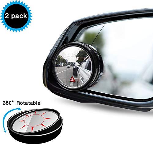Uni-Fine 2 Stück HD Kristallspiegel Konvex Rückspiegel,360 ° Verstellbarer Premium Toter-Winkel-Spiegel,Wetterfest Mehr Sicherheit für Alle Arten von Autos (schwarz)