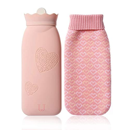 Microwave Heating Bottle Environmental Silicone Transparent Hot Water Bag with Knit Cover,...