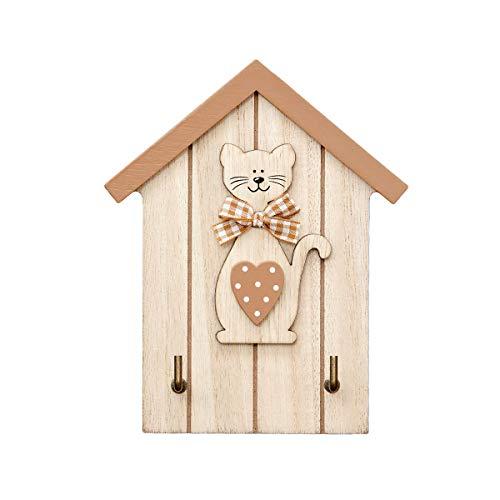 Râtelier à clé Porte-clés tableau des clés en bois fixé au mur 2 crochets murale avec décoration motif chat pour la cuisine ou vestiaire en bois naturel Cat Design Key Holder Wall