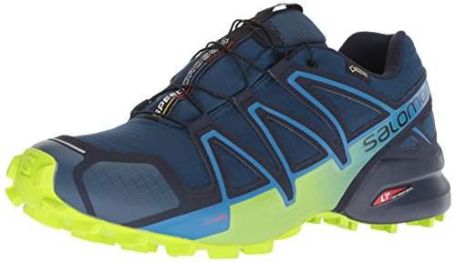 Salomon Men's Trail Running Shoes, SPEEDCROSS 4 GTX, Colour: Blue (Poseidon/Navy Blazer/Lime Green), Size: EU 46