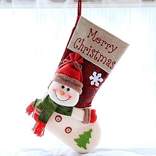 Christmas Decoration, Stocking Bag Santa Claus Snowman Pattern Three-Dimensional Stocking Santa Claus Figure Xmas (MAX Snowman Stocking)