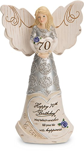 Pavilion Gift Company 82416 Elements 70th Birthday May Today's Wishes Fill Your Life with Happiness 6 Inch Angel Figurine