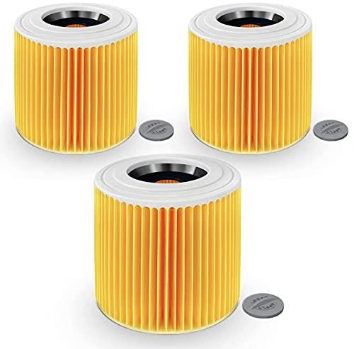 SANAWATEC 3 filtros de cartucho compatibles para aspiradora Kärcher WD3 Premium WD2 WD3 WD1 MV3 MV2 WD 3P Extension Kit contra polvo fino / olores sustituye a 6.414-552.0, 6.414-772.0, 6.414-547.0