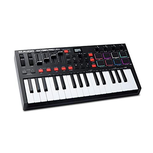 M-Audio Oxygen Pro Mini – Tastiera MIDI controller USB a 32 tasti con pad Beat, manopole, tasti e fader assegnabili...