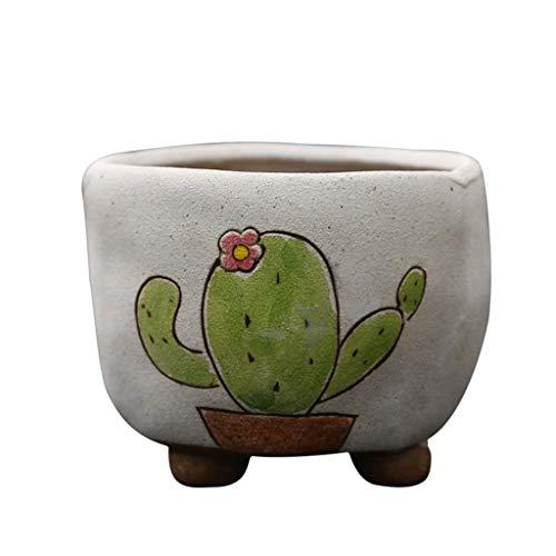 NJ Flower Pots- Cartoon ademende creatieve grove keramische wastafel, thuis woonkamer desktop plant wastafel keramiek